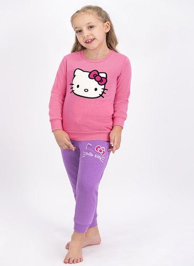 Hello Kitty Hello Kitty Lisanslı Pembe Kız Çocuk Eşofman Takımı Pembe